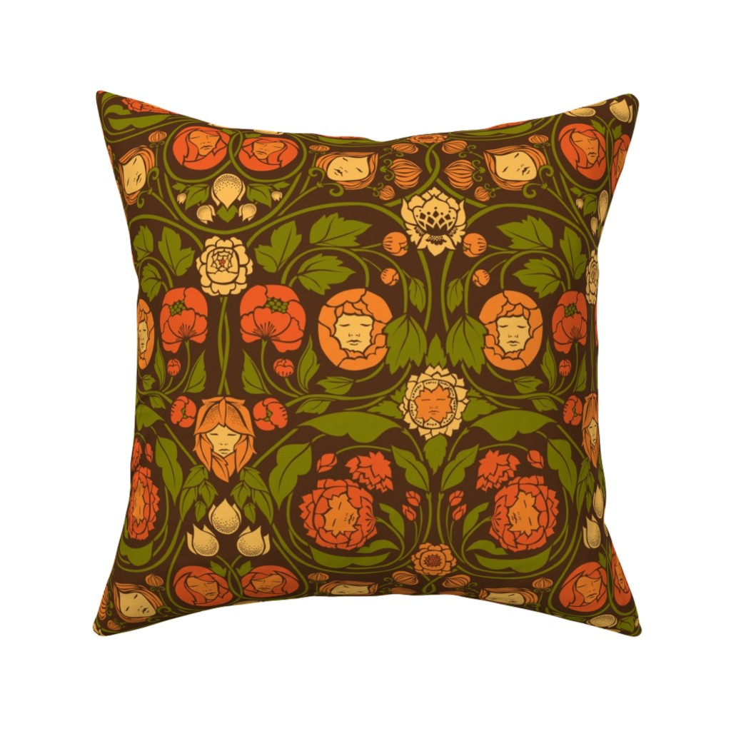 Catalan Throw Pillow featuring Mystery Blooms - Orange/Brown by ceciliamok