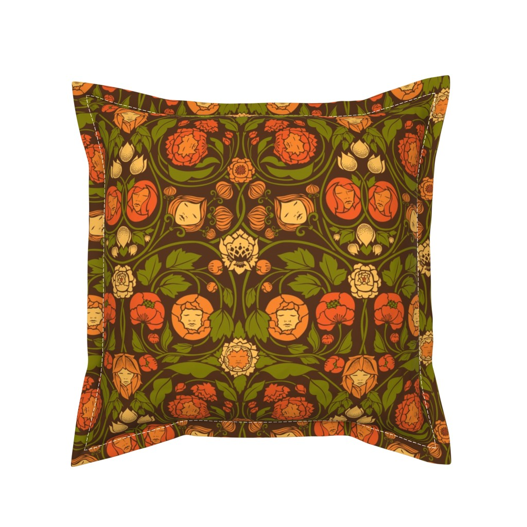Serama Throw Pillow featuring Mystery Blooms - Orange/Brown by ceciliamok
