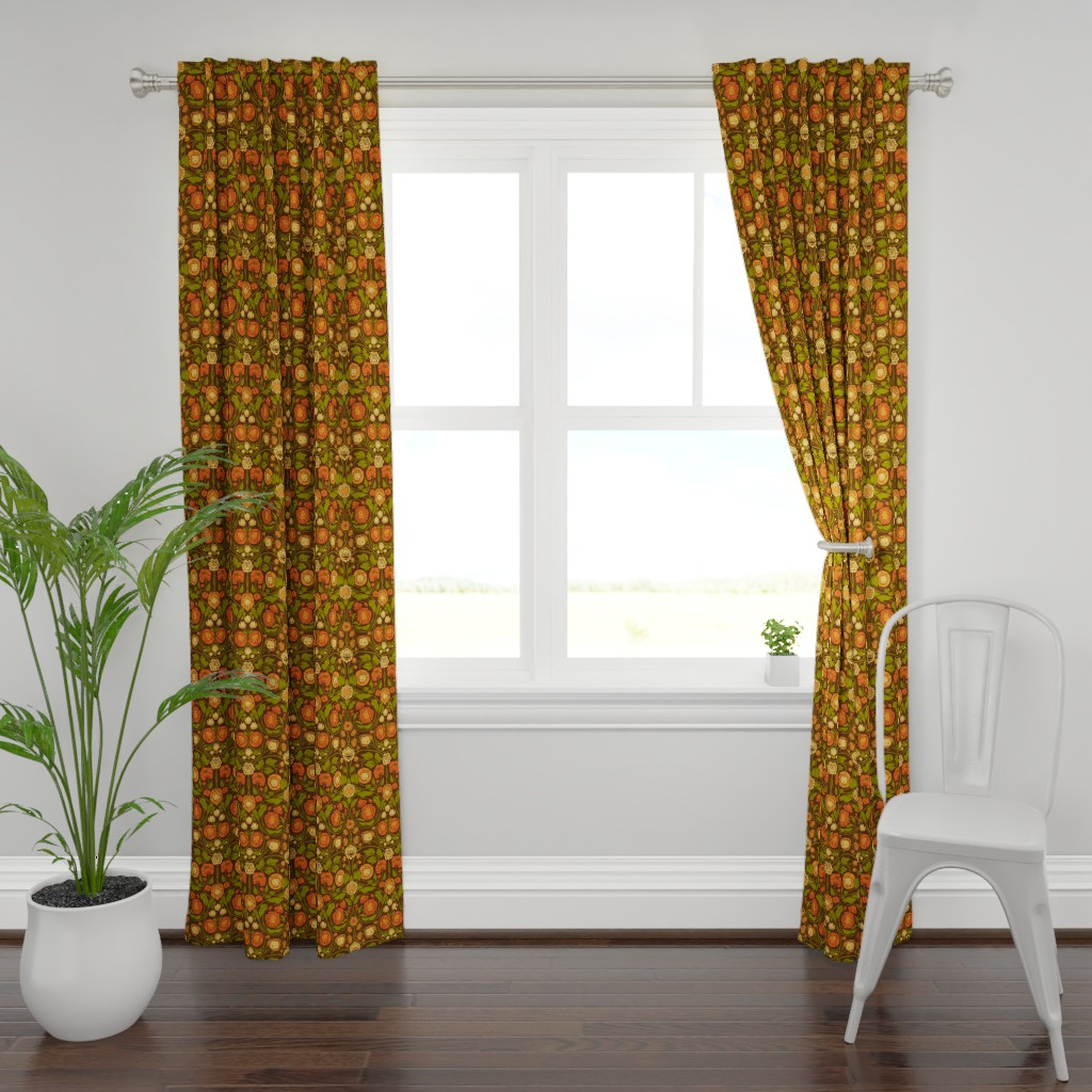 Plymouth Curtain Panel featuring Mystery Blooms - Orange/Brown by ceciliamok