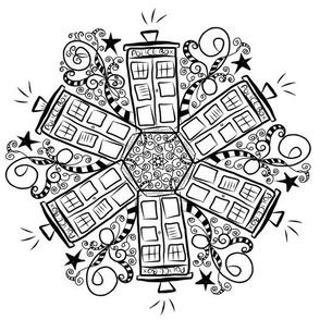 Black and White Doodle Police Box  Mandala