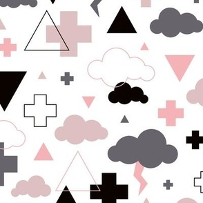 geometric pastel sleepy blue sky cloud geometric pattern lilac pink
