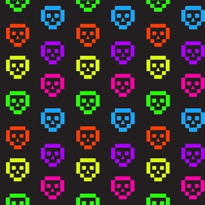 Neon 8-bit skulls