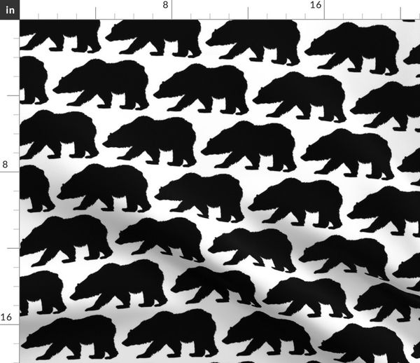 Fabric by the Yard Grizzly Bear Silhouette
