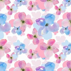 Cute Pink and Blue Floral Pattern