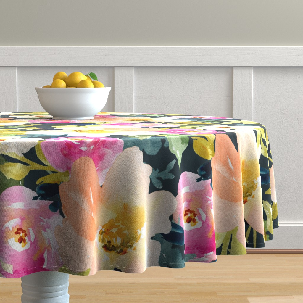 Malay Round Tablecloth featuring Portadown Watercolor Floral by angiemakes