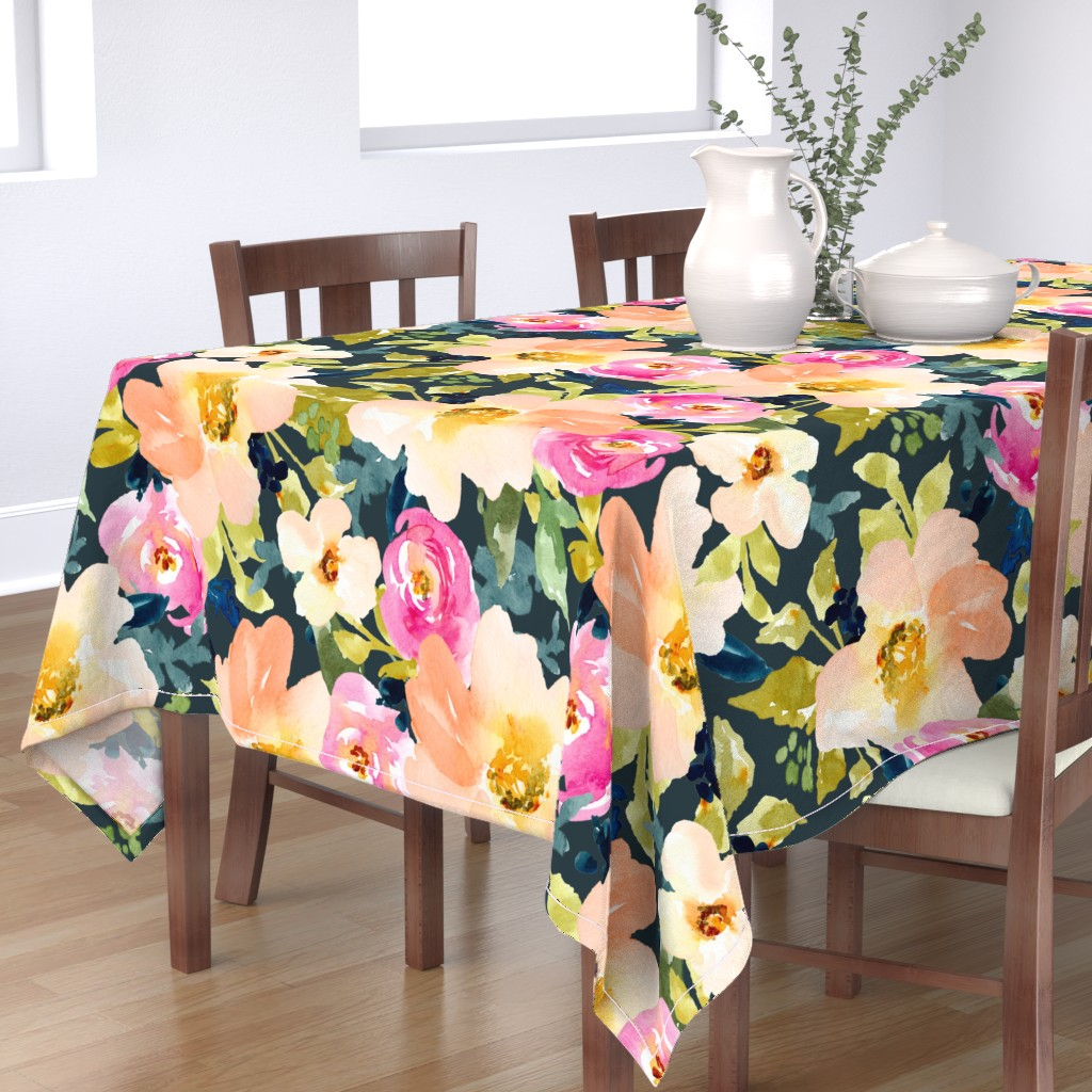 Bantam Rectangular Tablecloth featuring Portadown Watercolor Floral by angiemakes