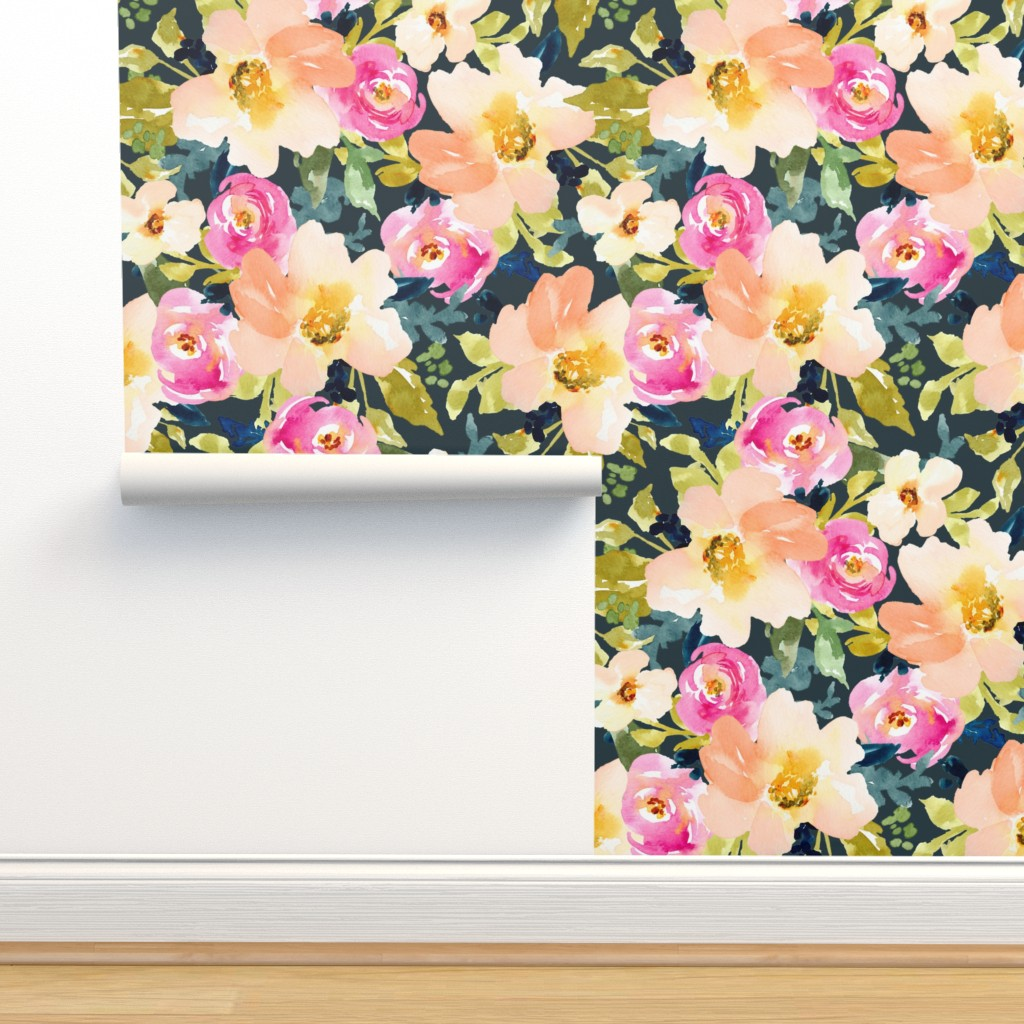 Isobar Durable Wallpaper featuring Portadown Watercolor Floral by angiemakes