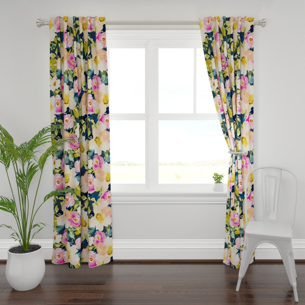 Plymouth Curtain Panel featuring Portadown Watercolor Floral by angiemakes