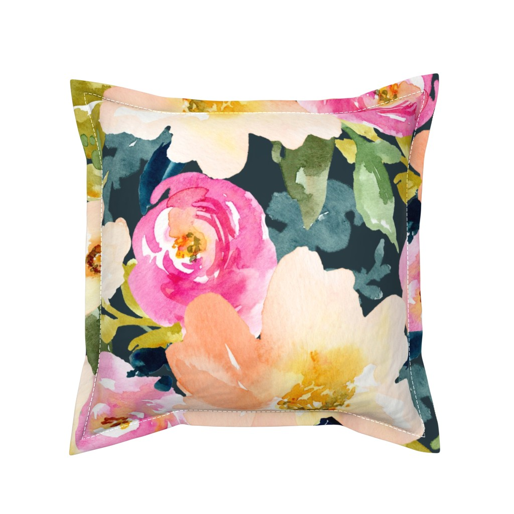 Serama Throw Pillow featuring Portadown Watercolor Floral by angiemakes