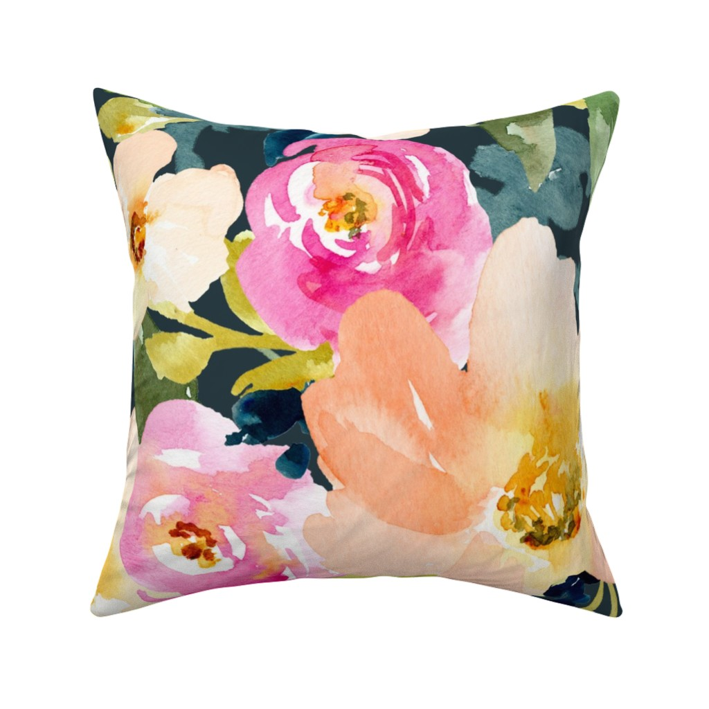 Catalan Throw Pillow featuring Portadown Watercolor Floral by angiemakes