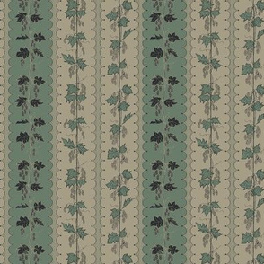 Hops in Charcoal Stripes on Old Linen