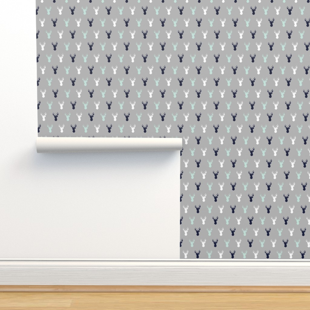 Isobar Durable Wallpaper featuring Deer - Navy,mint,grey,white by sugarpinedesign