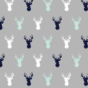 Deer - Navy,mint,grey,white