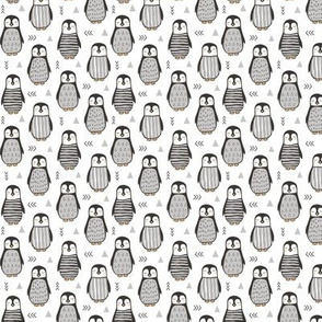 Penguins Black&White  with Sweater Geometric and Triangles  in Grey on White 1 inch small tiny