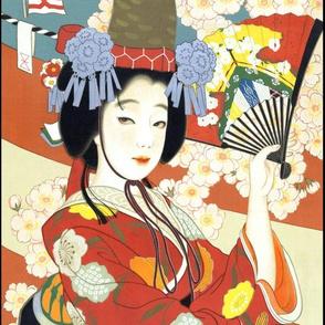 vintage japanese japan oriental chinoiserie culture kimono  asia asian traditional geisha maiko cherry blossoms sakura flowers fans