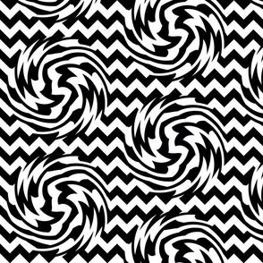 Black and white Chevron Swirls