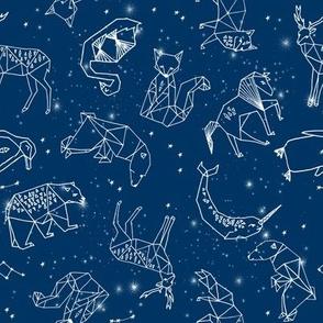 constellations // geometric constellations animals stars night sky navy blue kids room nursery decor cute fabric