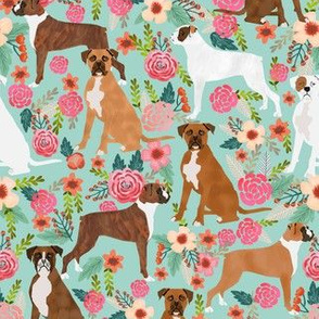 boxer dog flowers florals mint cute flowers trendy painted vintage florals boxer dogs