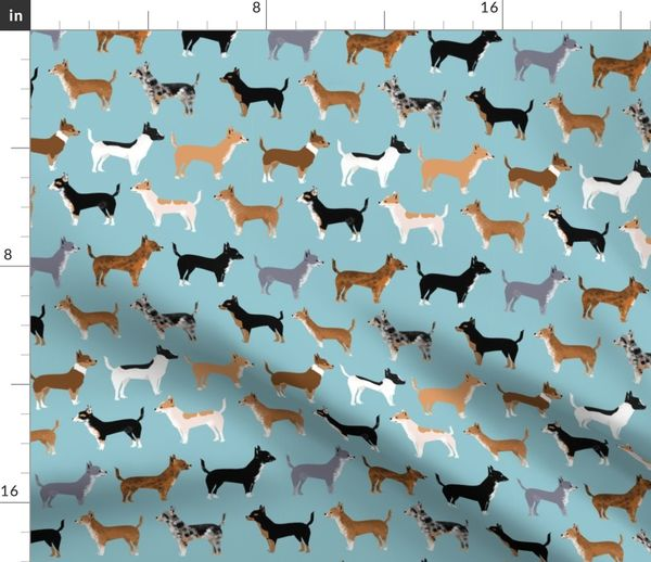 Fabric By The Yard Chihuahua Coats Dog Colors Merle Black And Tan Blue Piebald Dog Cute Chihuahua Pet Dogs Fabric