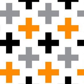Orange Black Grey Cross