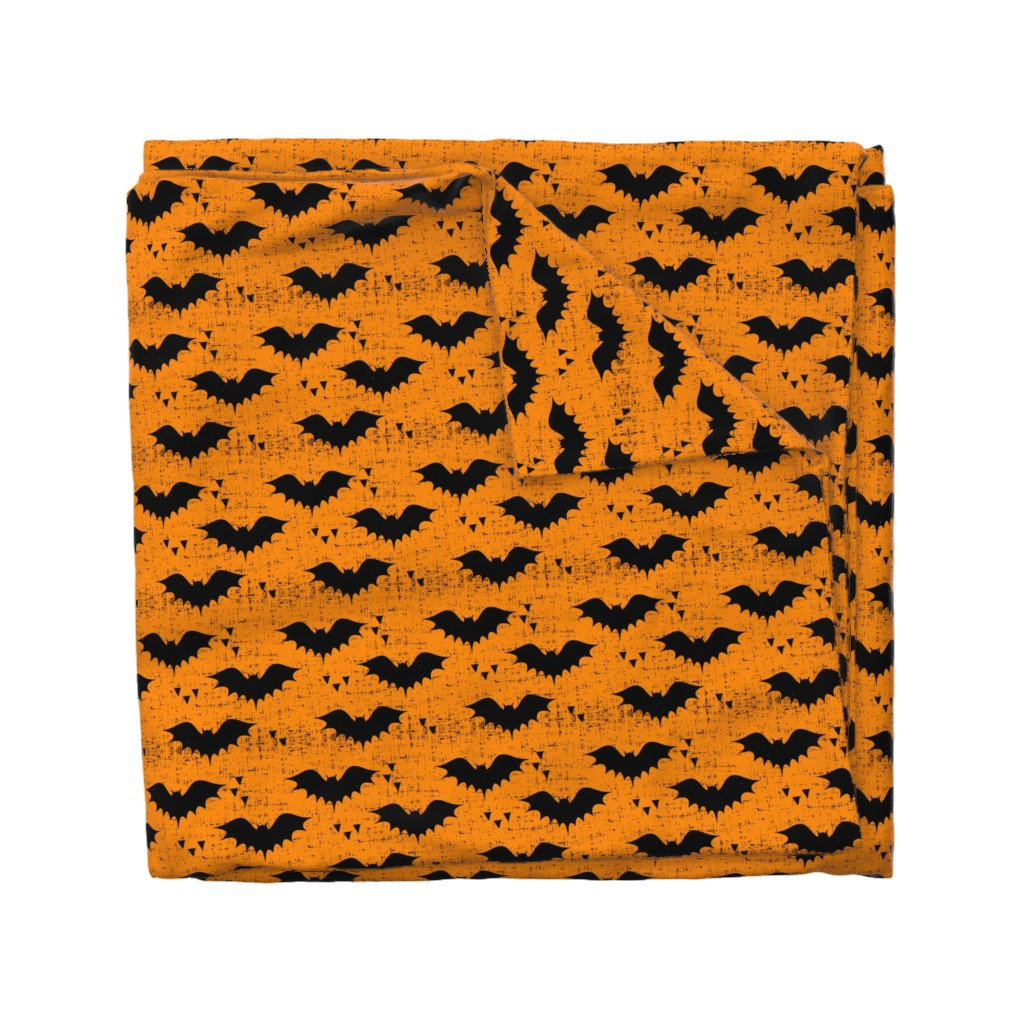 Wyandotte Duvet Cover featuring bats || orange by littlearrowdesign