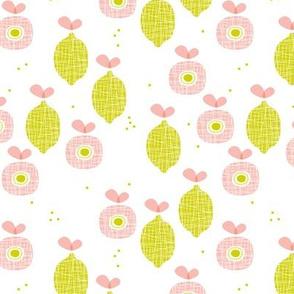 lemon and apple juice tropical summer fruit kitchen Scandinavian design vintage lime pink