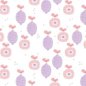 lemon and apple juice tropical summer fruit kitchen Scandinavian design vintage lilac pink