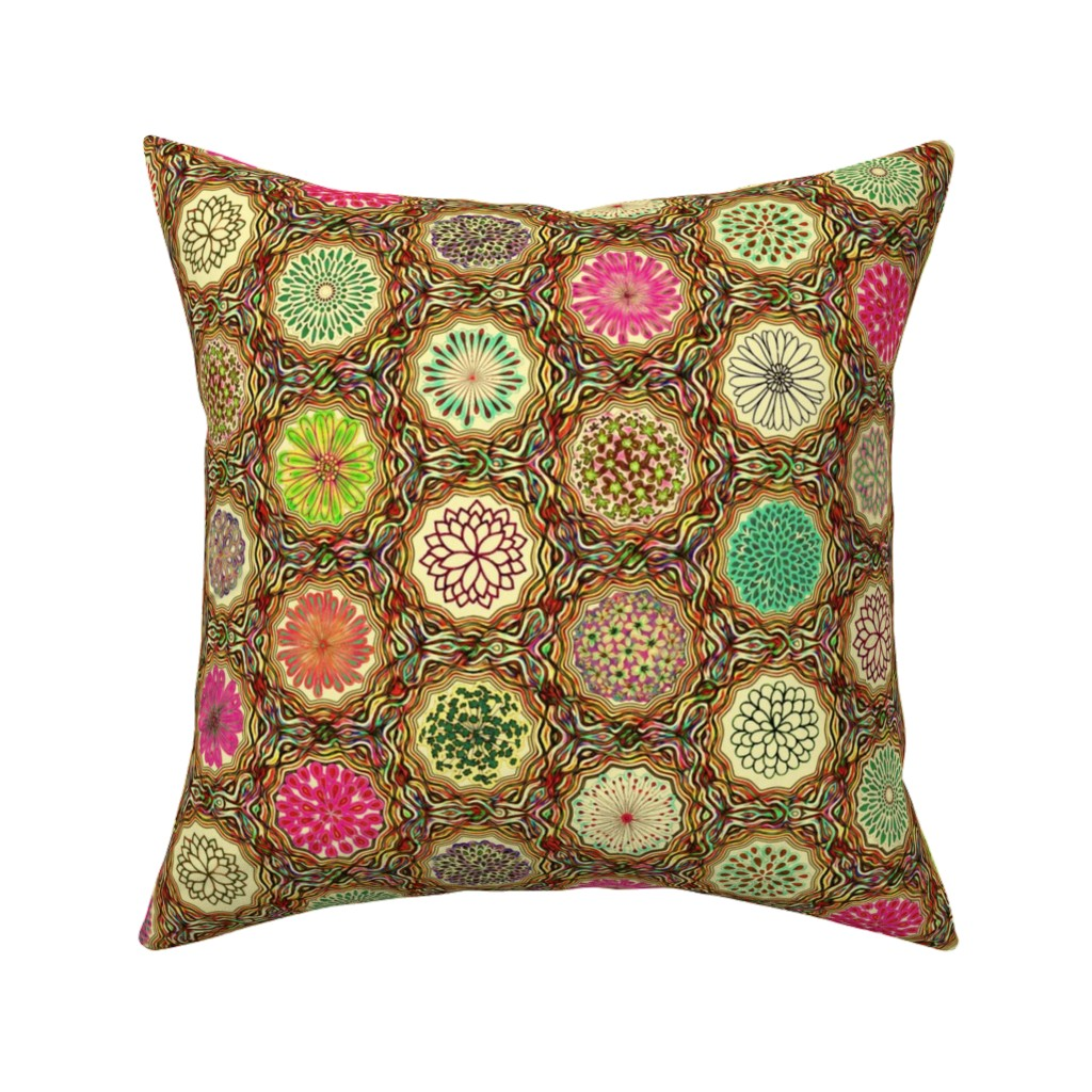 Catalan Throw Pillow featuring lassie's flowers yellow by keweenawchris