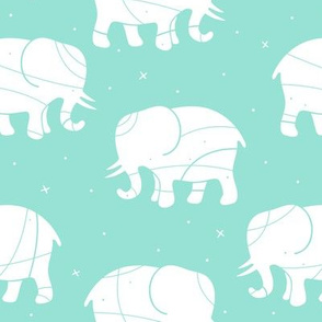 Elephant Silhouette on Mint