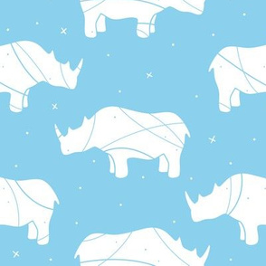Rhino Silhouette on Blue