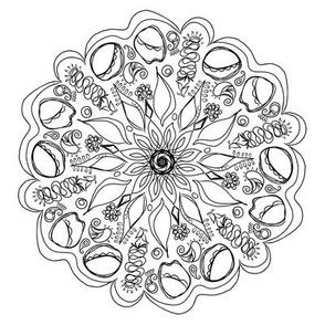 Black and White Floral Mandala, Flower Medallion