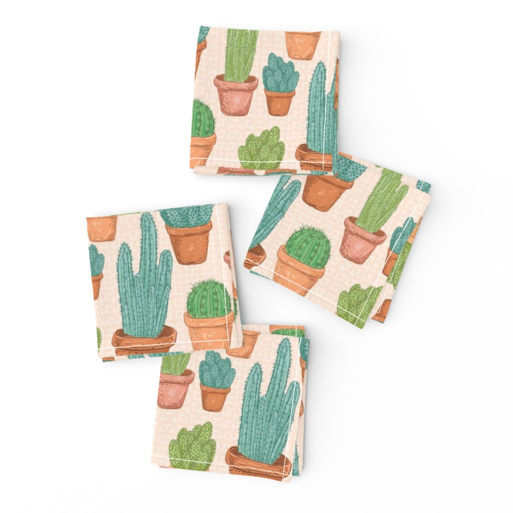 Frizzle Cocktail Napkins featuring  Sketchy Potted Cactus Collection by diane555