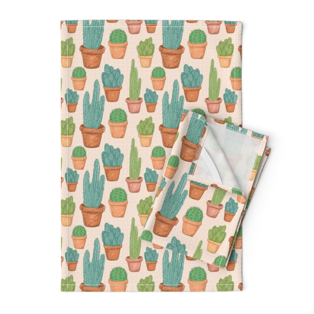 Orpington Tea Towels featuring  Sketchy Potted Cactus Collection by diane555