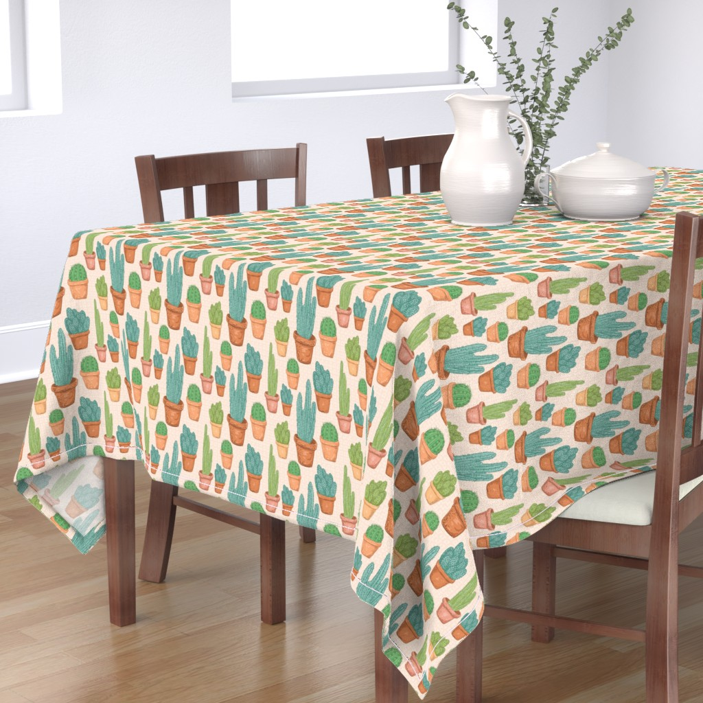 Bantam Rectangular Tablecloth featuring  Sketchy Potted Cactus Collection by diane555