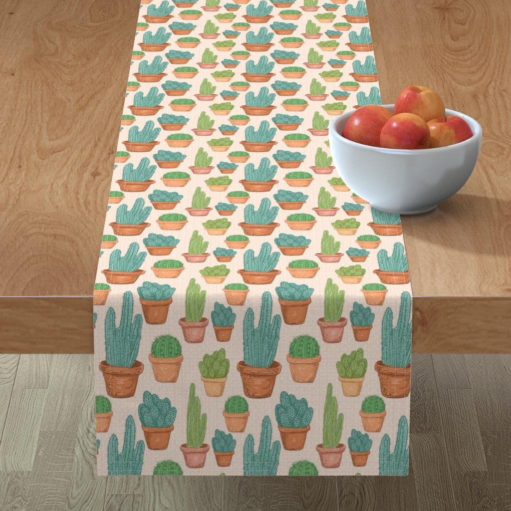 Minorca Table Runner featuring  Sketchy Potted Cactus Collection by diane555