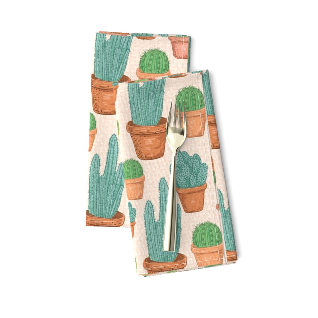 Amarela Dinner Napkins featuring  Sketchy Potted Cactus Collection by diane555