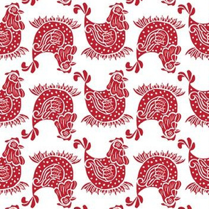 Chickens Linocut Block Print