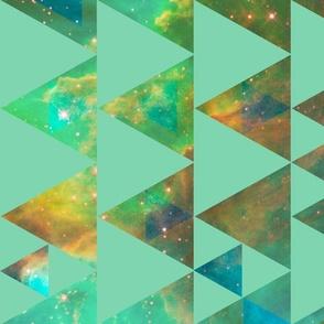 Nebula Cheater Quilt - mint triangles