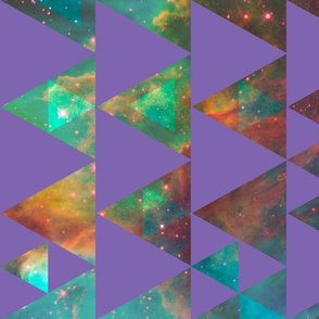 Nebular Cheater Quilt - purple triangles