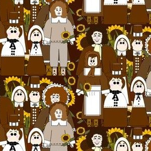 Pilgrims, Sunflowers and Thanksgiving Fabric L