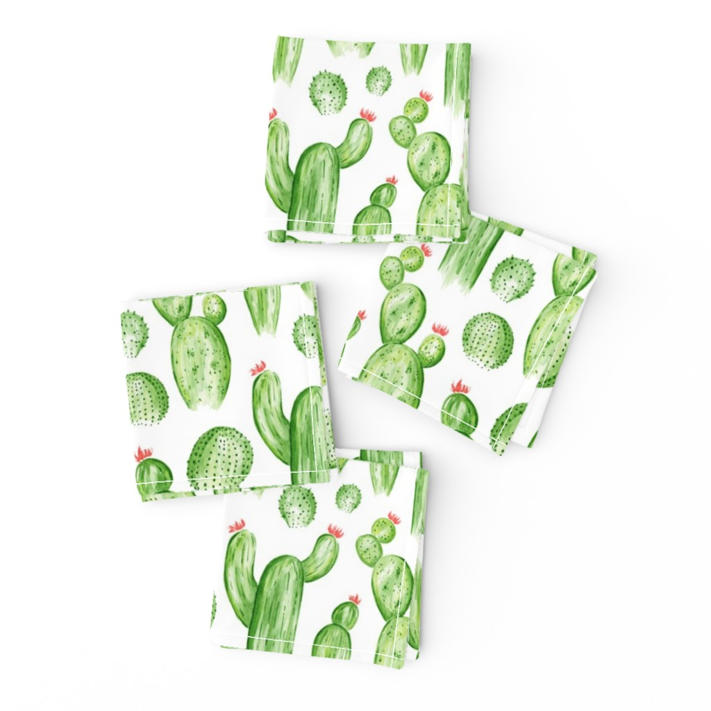 Frizzle Cocktail Napkins featuring Cactus Garden - Watercolor Green by heatherdutton