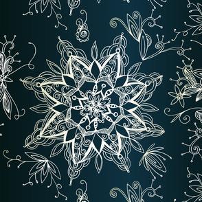 Zendala snowflake, denim