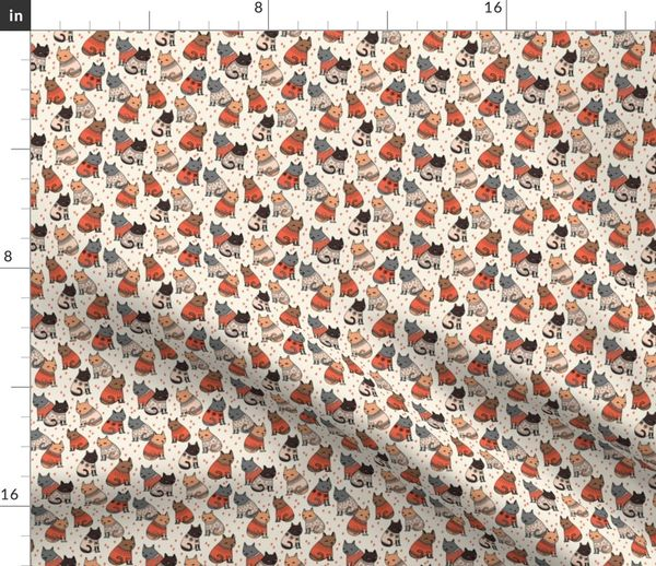 Christmas Sweater Pattern.Fabric By The Yard Cats In Sweaters Holiday Christmas Sweater Ugly Sweater Illustration Pattern For Fashion Textiles And Wallpapers