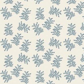 Delicate Fern, Enamel Blue on Crema Linen