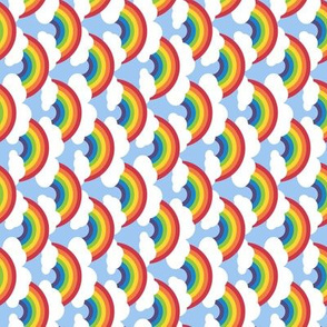 small sideways circle-rainbow, blue skies