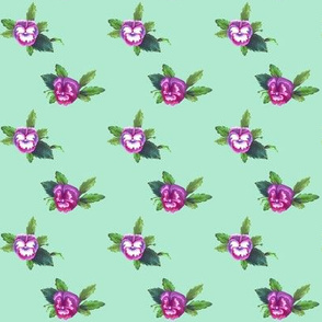 Pansy Dot Magenta on Mint, Bunny Picnic