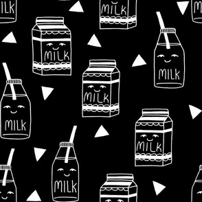 milk // black and white kids food hand-drawn illustration fabric pattern black background