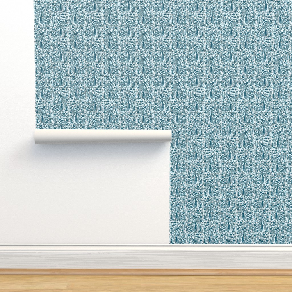 Isobar Durable Wallpaper featuring hare // botanical nature linocut block print woodland forest traditional rabbit blue teal  by andrea_lauren