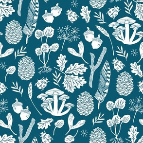 nature walk // fall blue botanical nature linocut block print kids cute acorns pinecones feathers print design