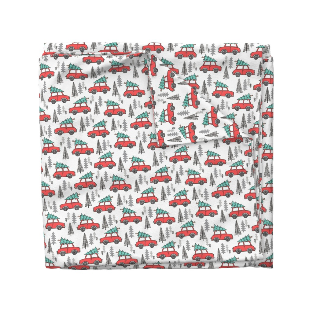 Wyandotte Duvet Cover featuring Holiday Christmas Tree Car Woodland Fall on White by caja_design